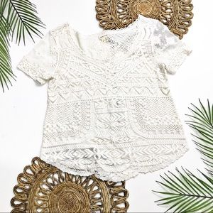 Meadow Rue Cream Embroidered Lace Top